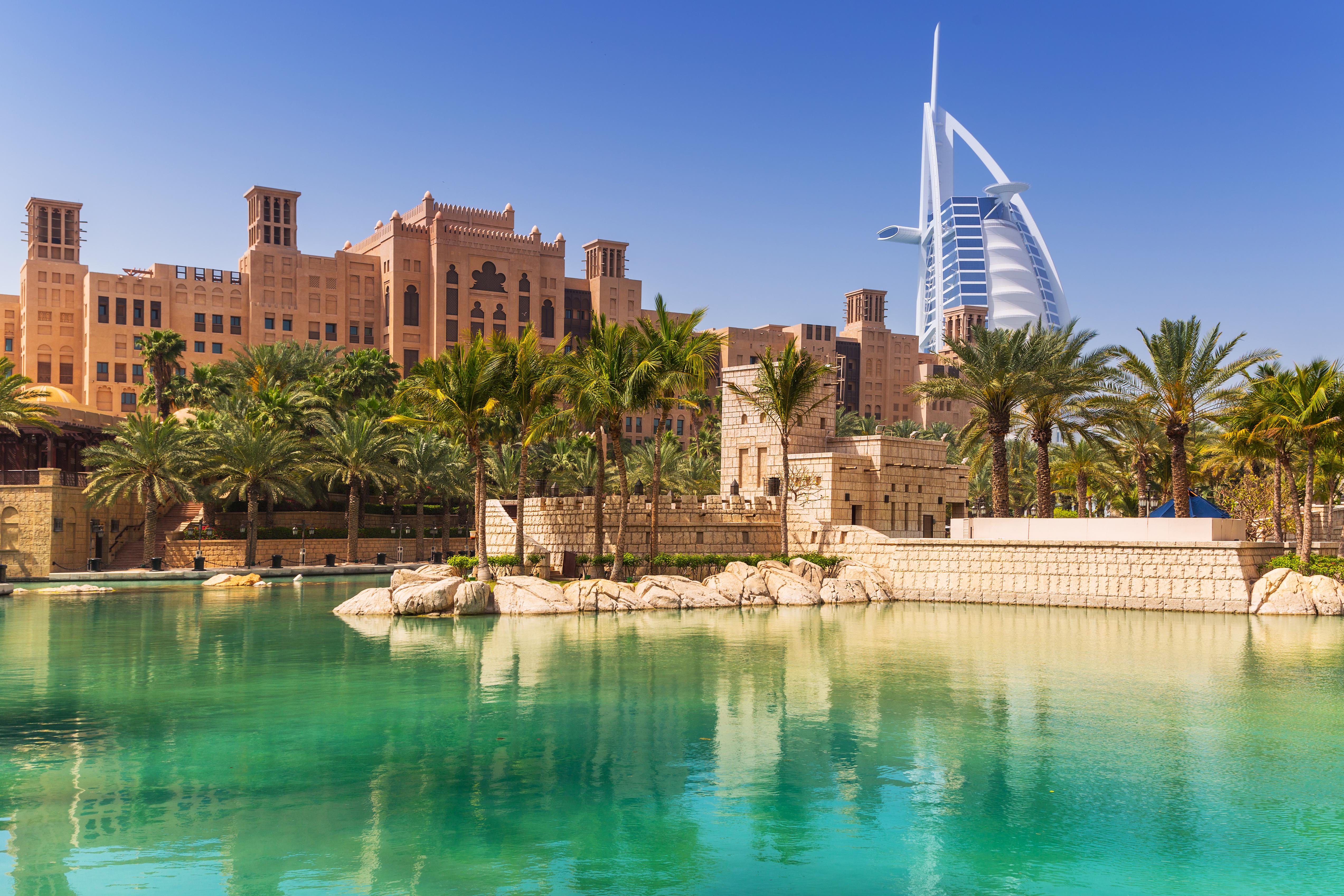 Amazing architecture of tropical resort in Dubai, UAE