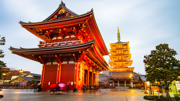 Tokyo, Japan - February 17, 2015: Senso-ji is an ancient Buddhist temple located in Asakusa, Tokyo, Japan. It is Tokyo's oldest temple, and one of its most significant. Formerly associated with the Tendai sect of Buddhism, it became independent after World War II.