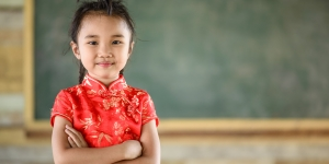Little girl on red Chinese dress